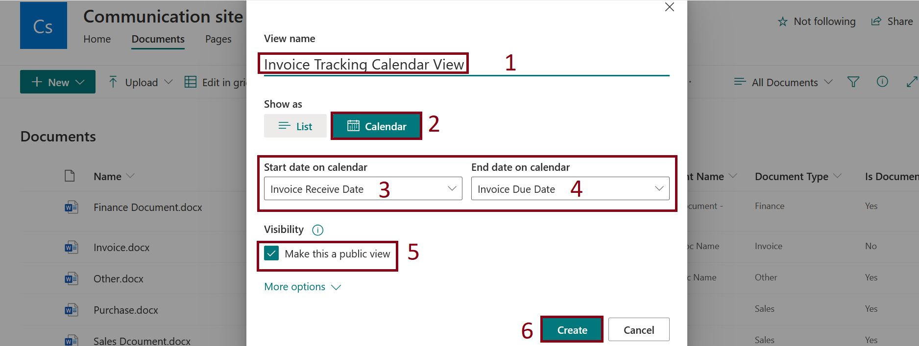 Create calendar view in modern SharePoint Online document library
