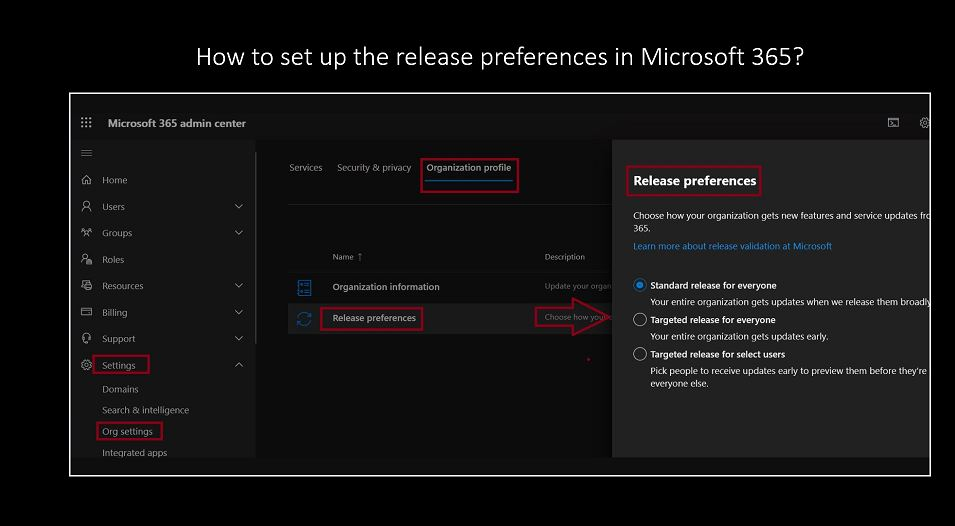 How to set up the release preferences in Microsoft 365?