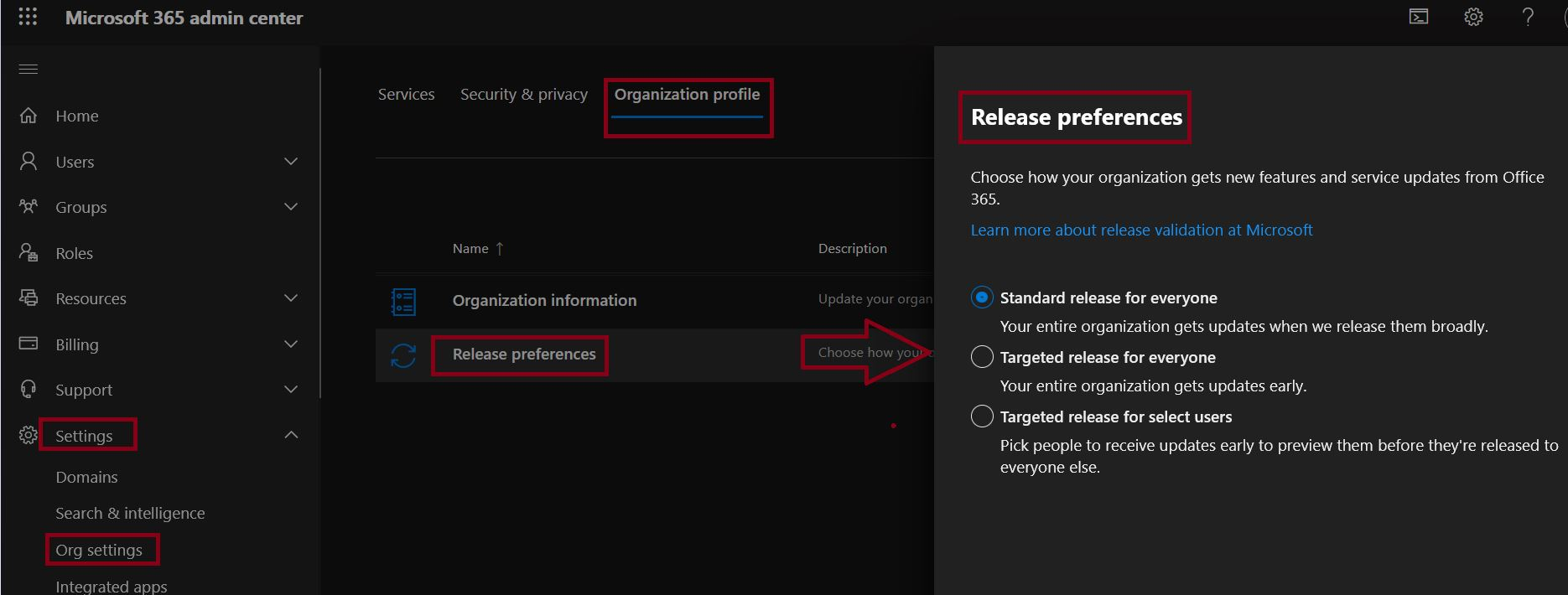 Release Preferences settings in Microsoft 365
