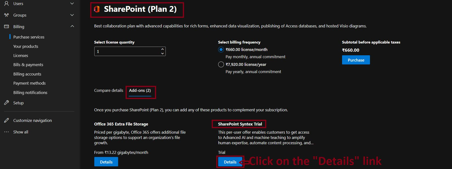 SharePoint Syntex Trial Add-in - SharePoint Plan 2