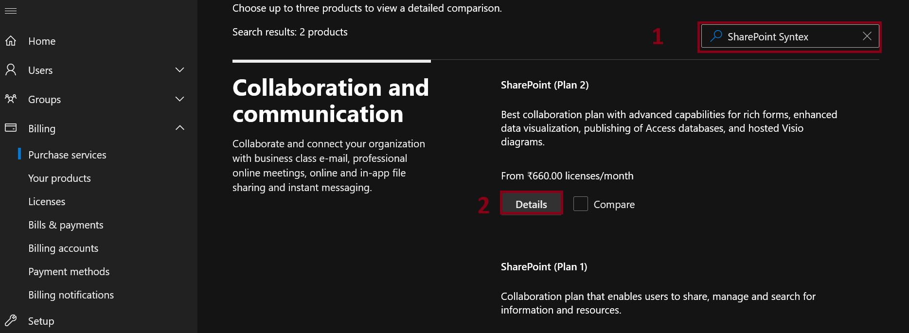 SharePoint Syntex add in from Microsoft 365 admin center