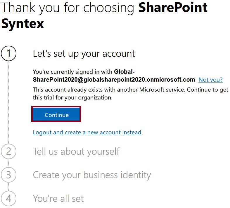 Thank you for choosing SharePoint Syntex - Let's set up your account