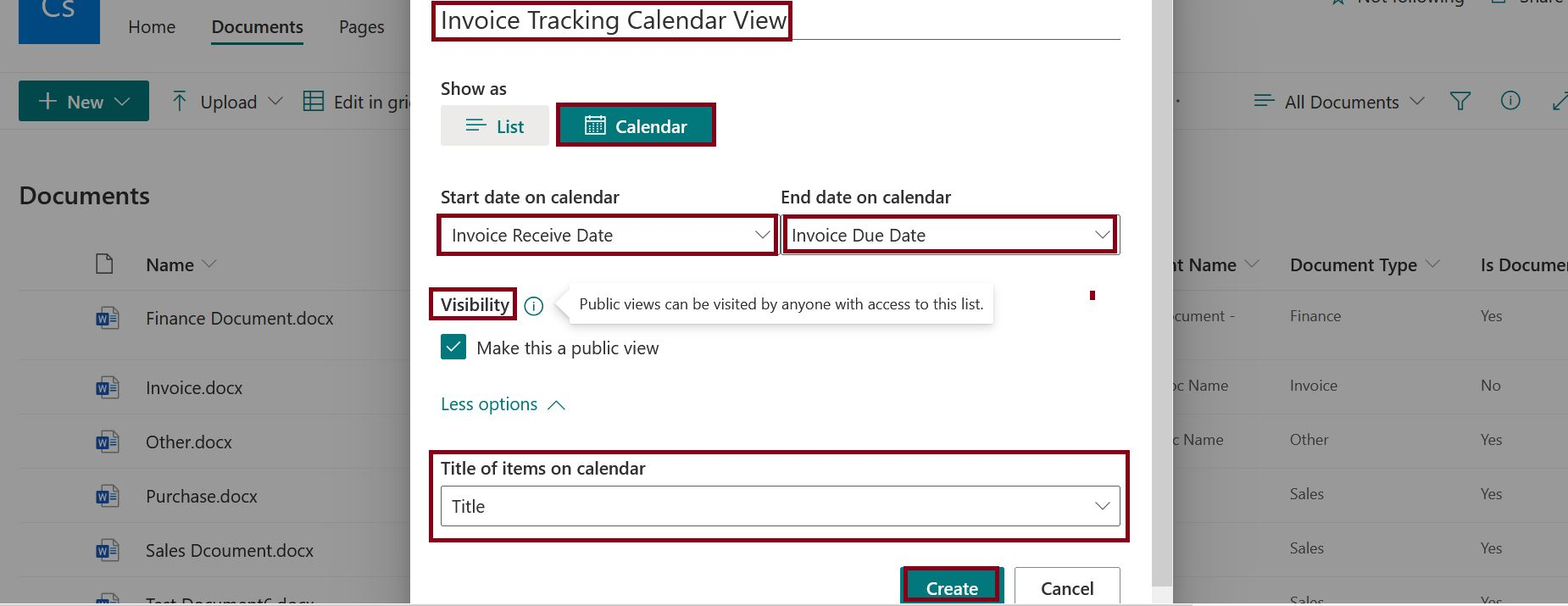 Visibility settings in calendar view creation - modern SharePoint Online list-library