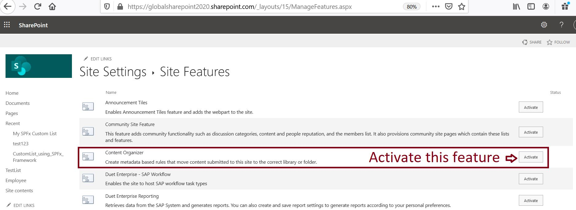 Activate content organizer site level feature in SharePoint Online