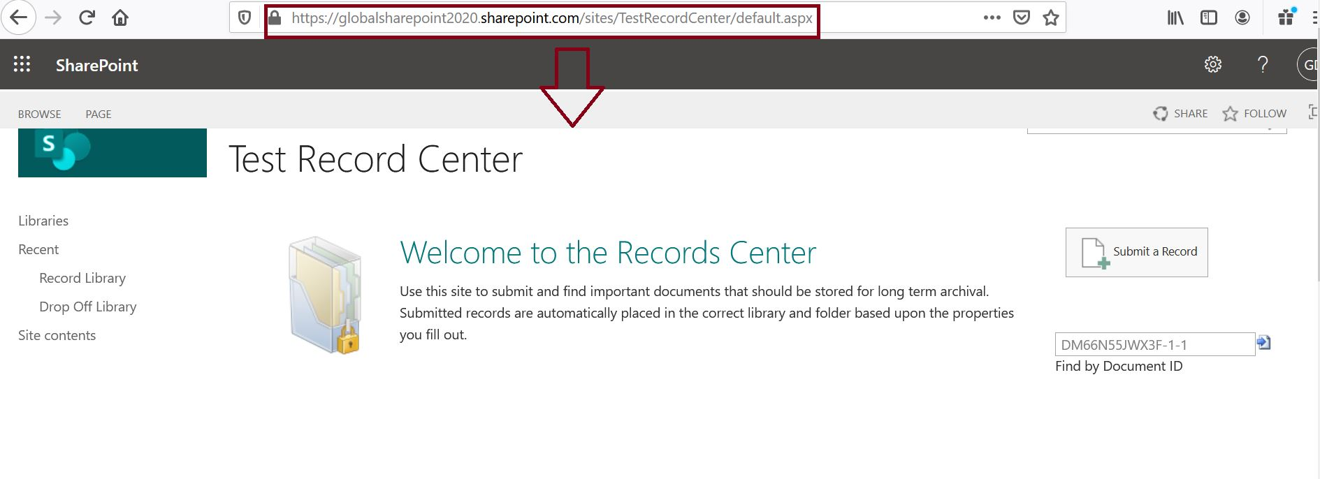 Create record center site in SharePoint Online