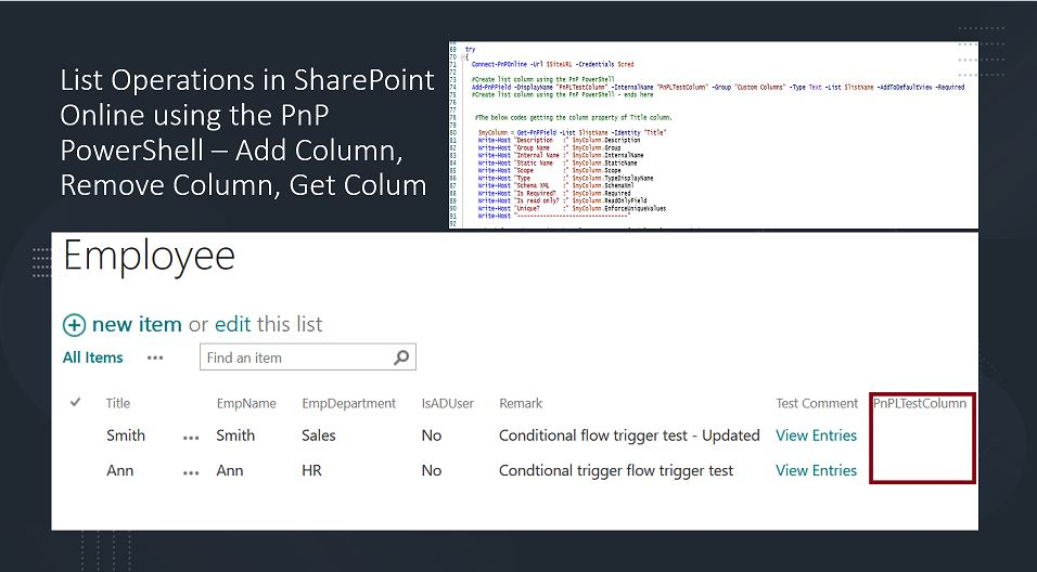 List Operations in SharePoint Online using the PnP PowerShell – Add Column, Remove Column, Get Colum