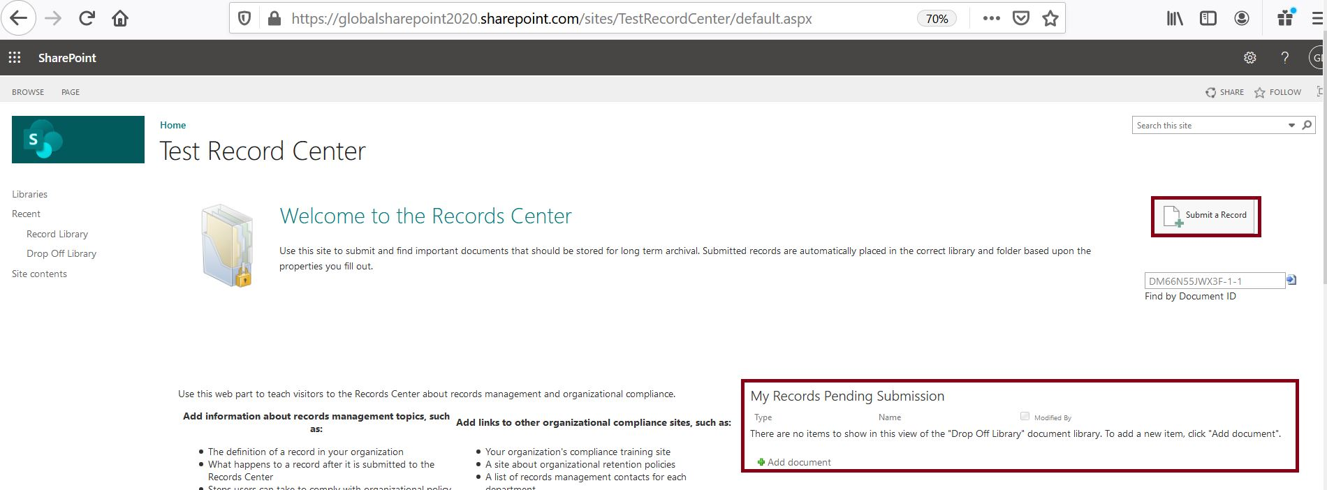 Record center site collection in SharePoint site