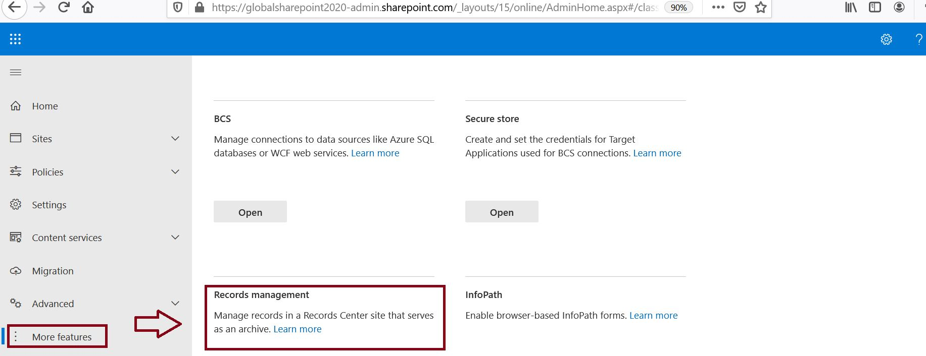 Record management feature in SharePoint Online from Microsoft 365 admin center