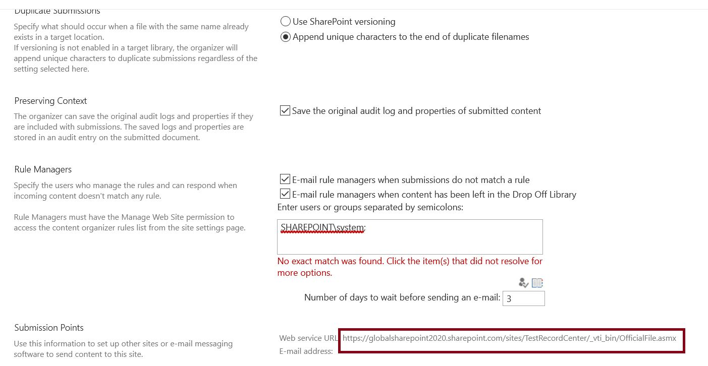 Submission points web service URL in SharePoint Online record center site