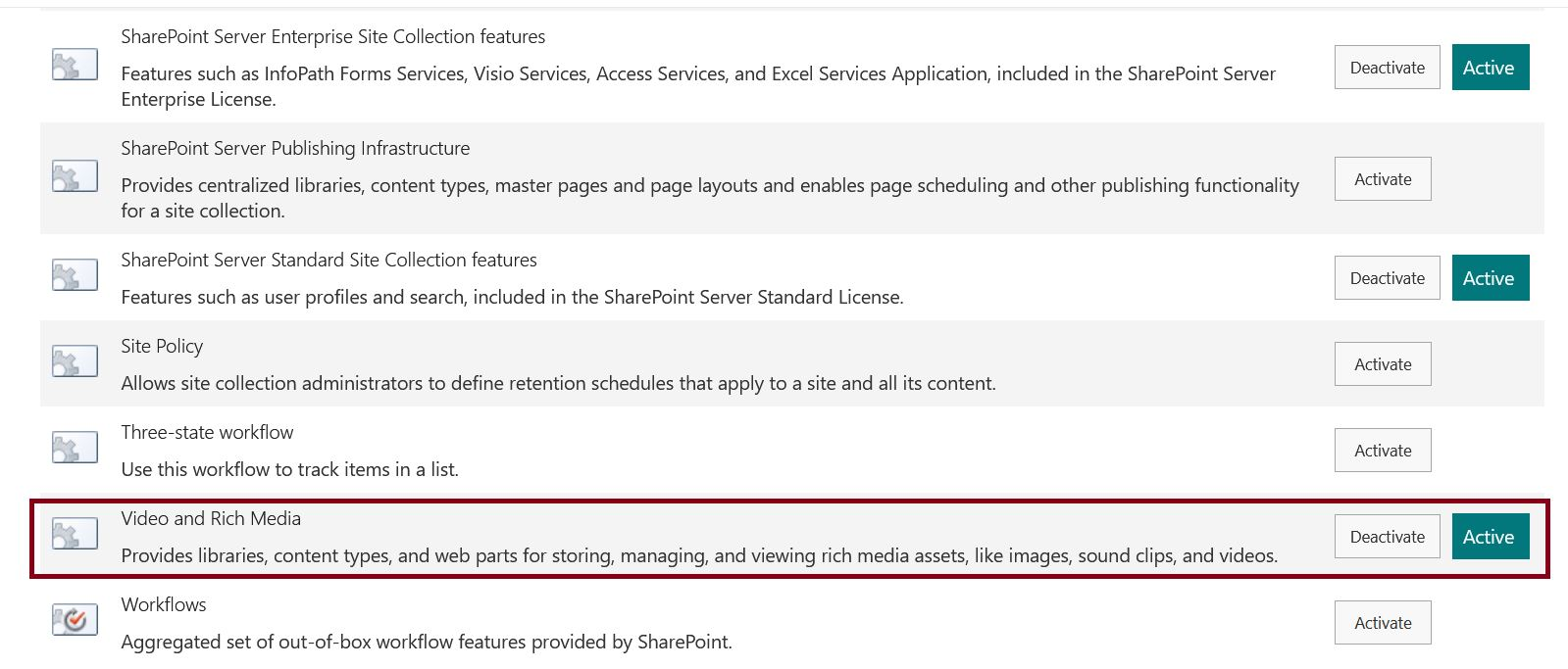 Activate Video and Rich Media site collection feature in SharePoint Online communication site