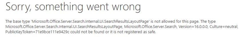 Sorry something went wrong in SharePoint 2016 people search