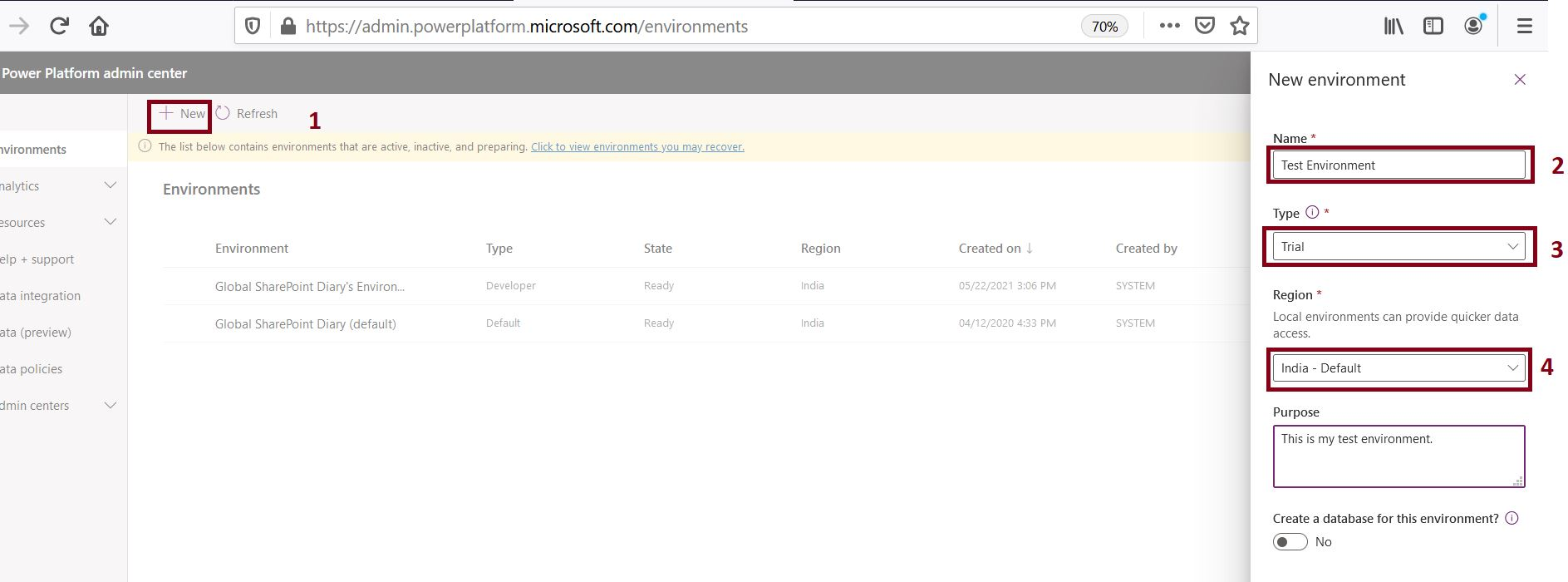 Create new environment in Power Apps admin center