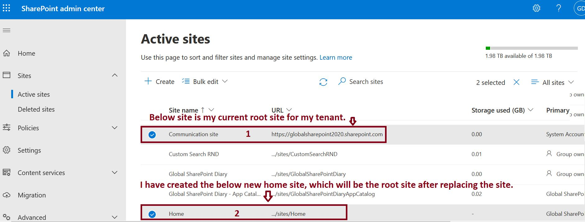 Replace root site in SharePoint Online tenant