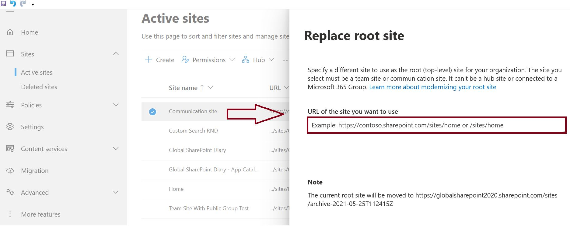 Replace site in SharePoint admin center process
