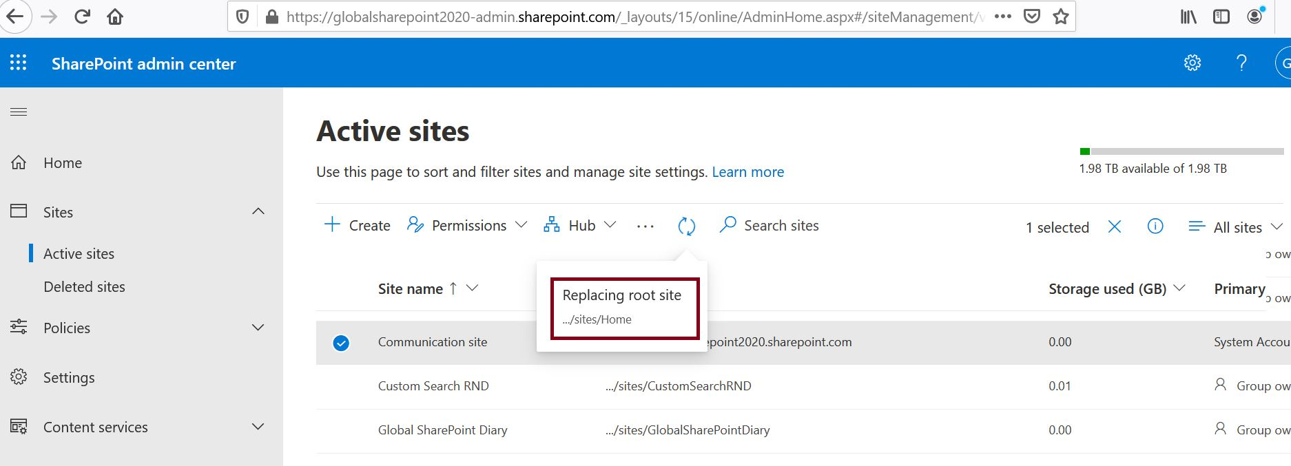 Replacing root site in progress in SharePoint Online admin center