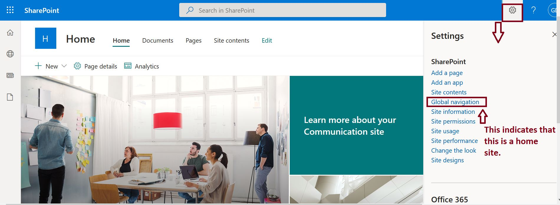 Set up home site app for your organization in SharePoint Online