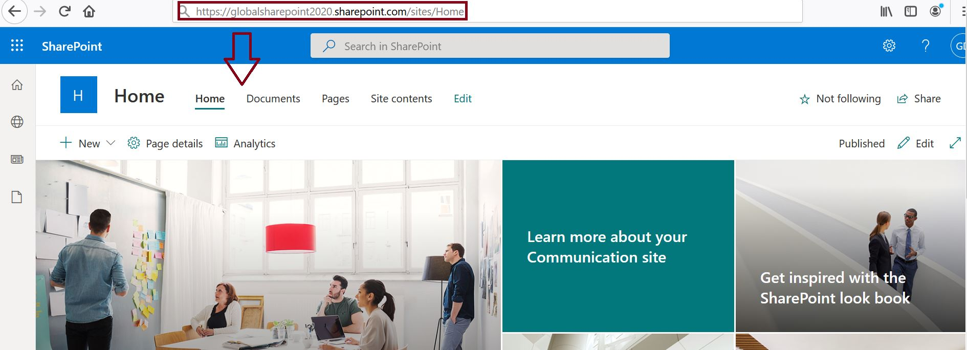 SharePoint Online home site before swapping