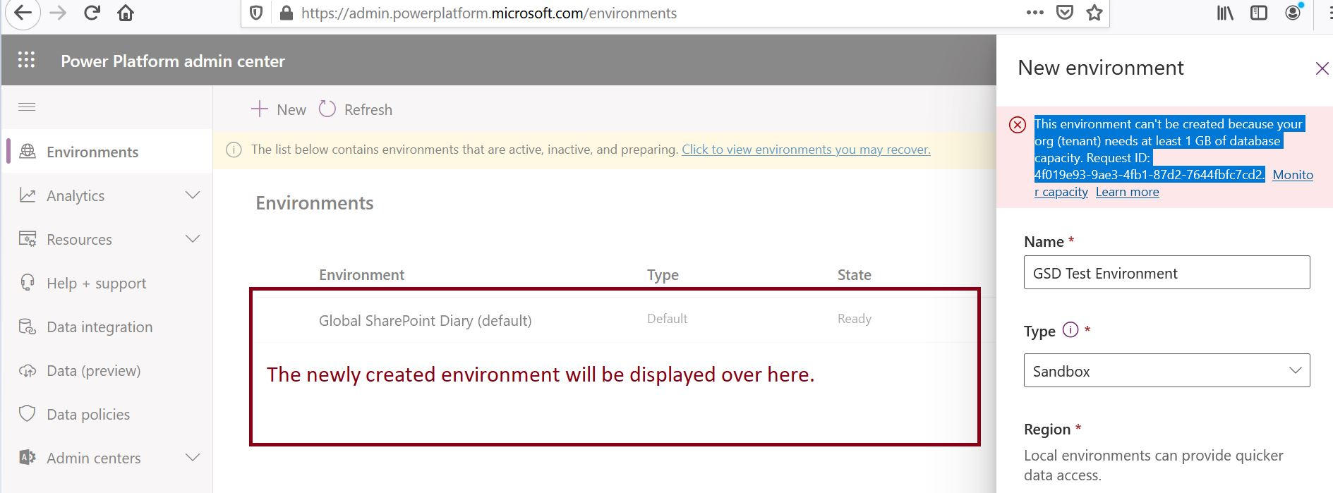 The location of newly created environment in Power Platform admin center