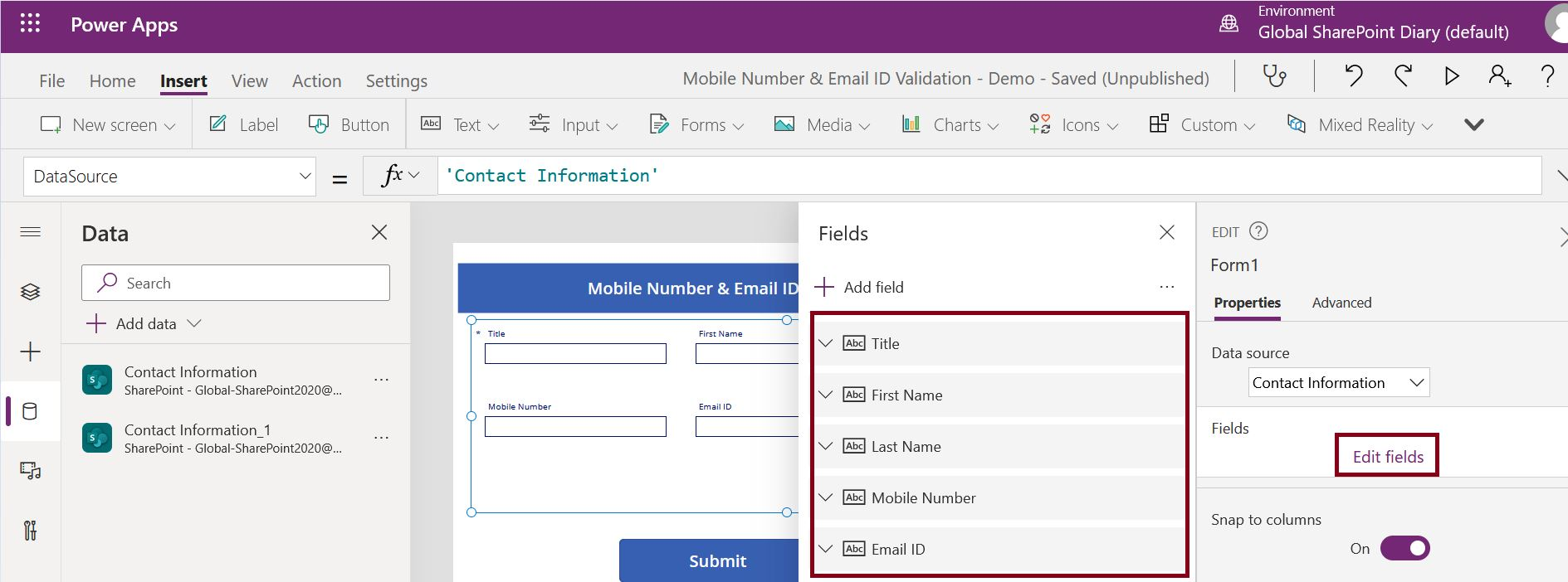 Add or remove fields in SharePoint data source from PowerApps