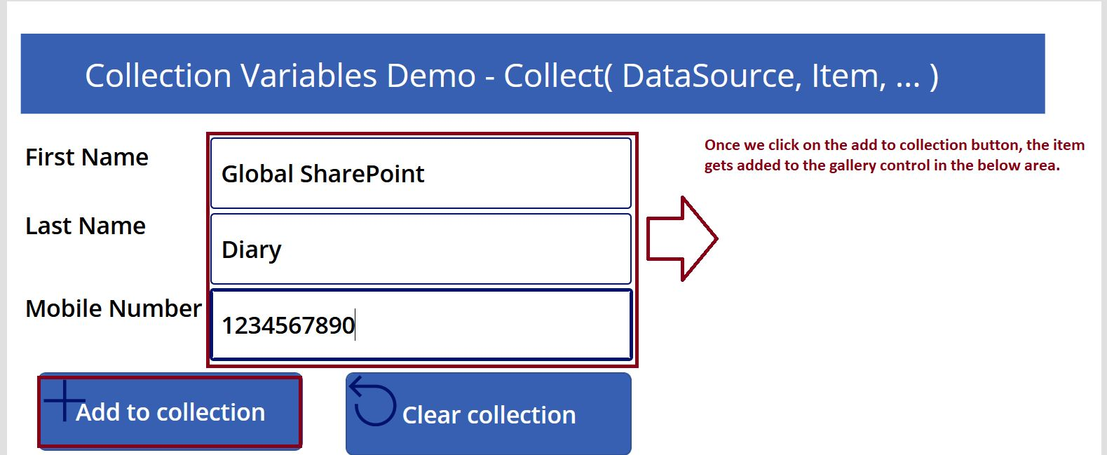 Add to collection demo in PowerApps