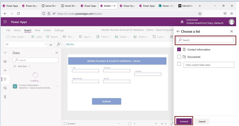 Choose a SharePoint list from PowerApps