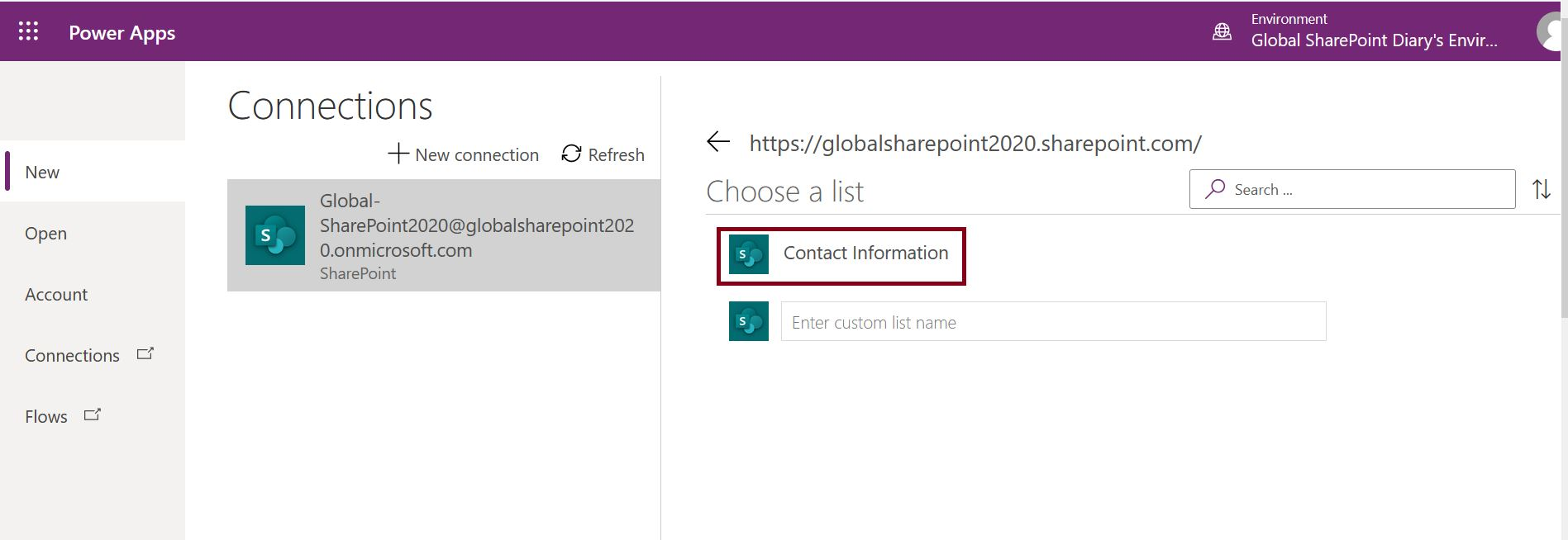Choose a list from SharePoint Connection in Power Apps model-driven app