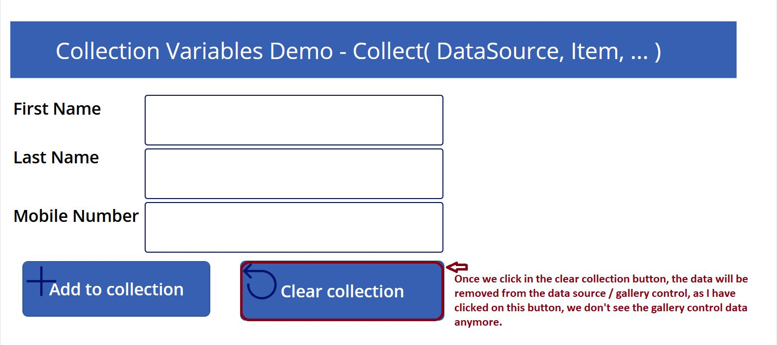 Clear collection variable data in PowerApps demo