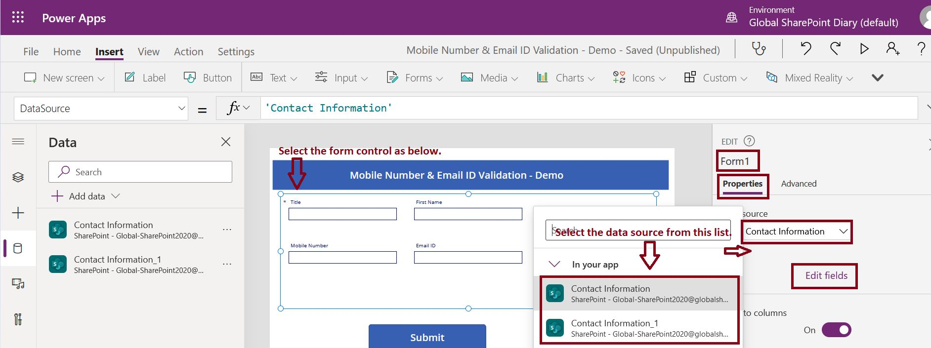 Configure SharePoint list data connection in PowerApps Canvas App