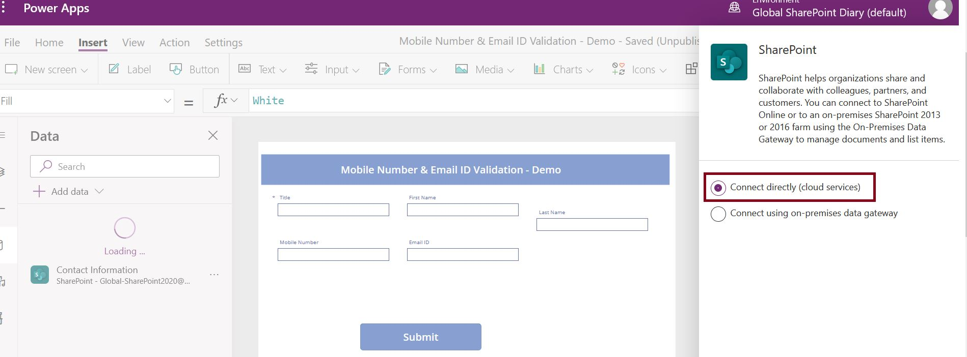 Connect directly (cloud services) in PowerApps