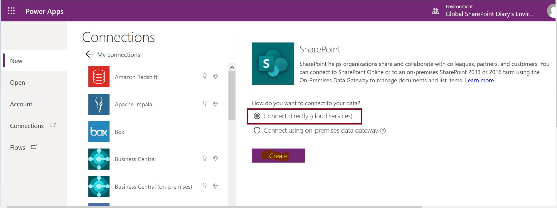 Create SharePoint data connection - Connect directly (cloud services)