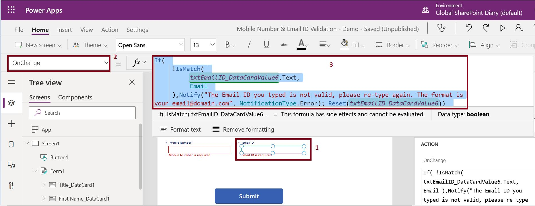Email ID validation formula in PowerApps