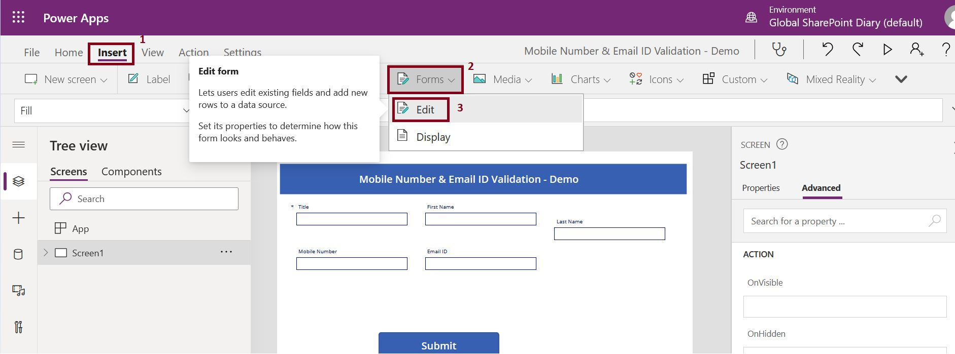 How to add form control in PowerApps Canvas App?