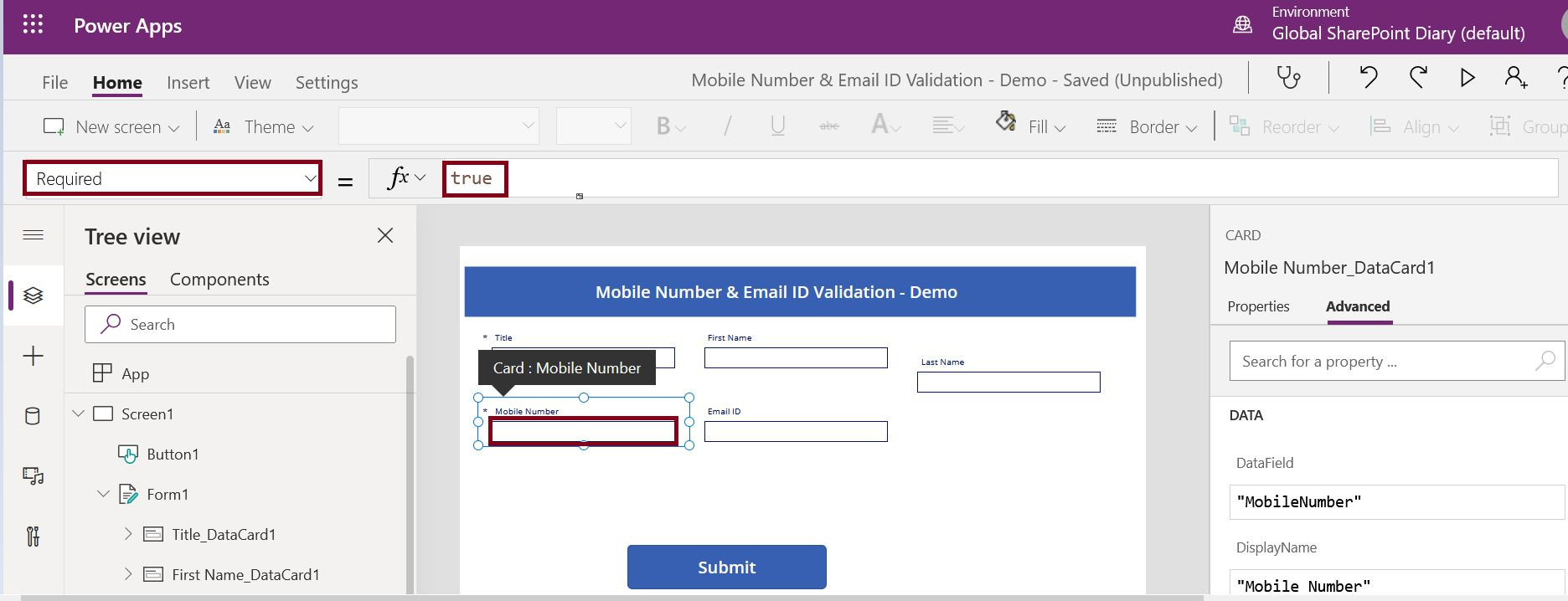 How to make PowerApps field property as required?