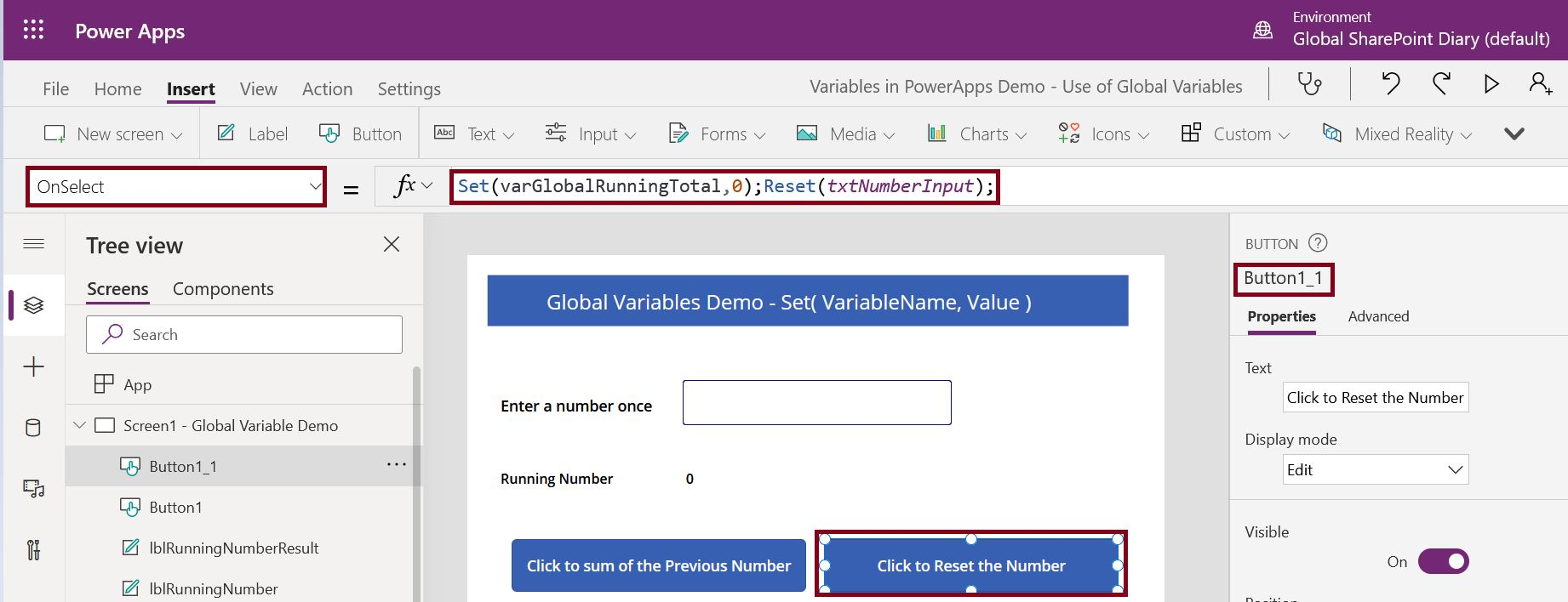How to reset controls in PowerApps