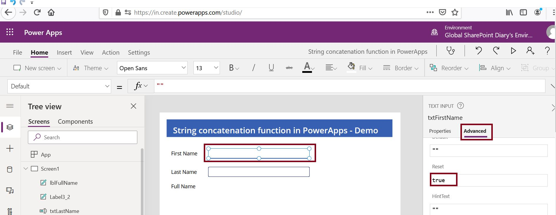 How to reset the control in PowerApps?