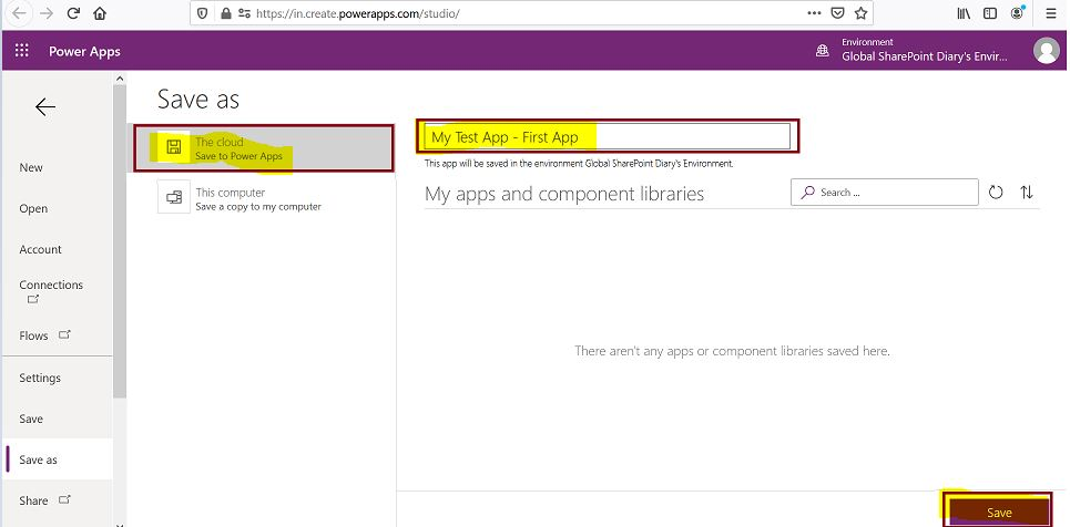 How to save canvas app in cloud in Power Apps