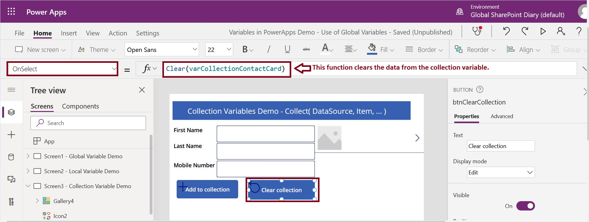 How to use clear function in PowerApps Canvas app?