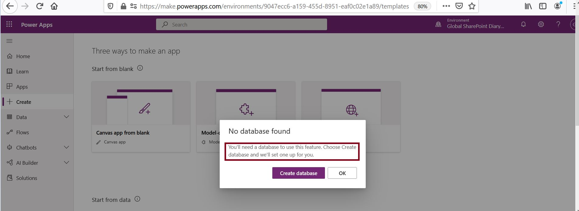 No database found - create database in PowerApps
