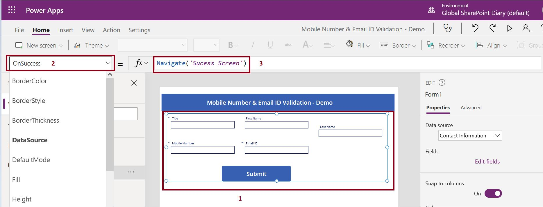 PowerApps OnSuccess event to navigate to successful screen