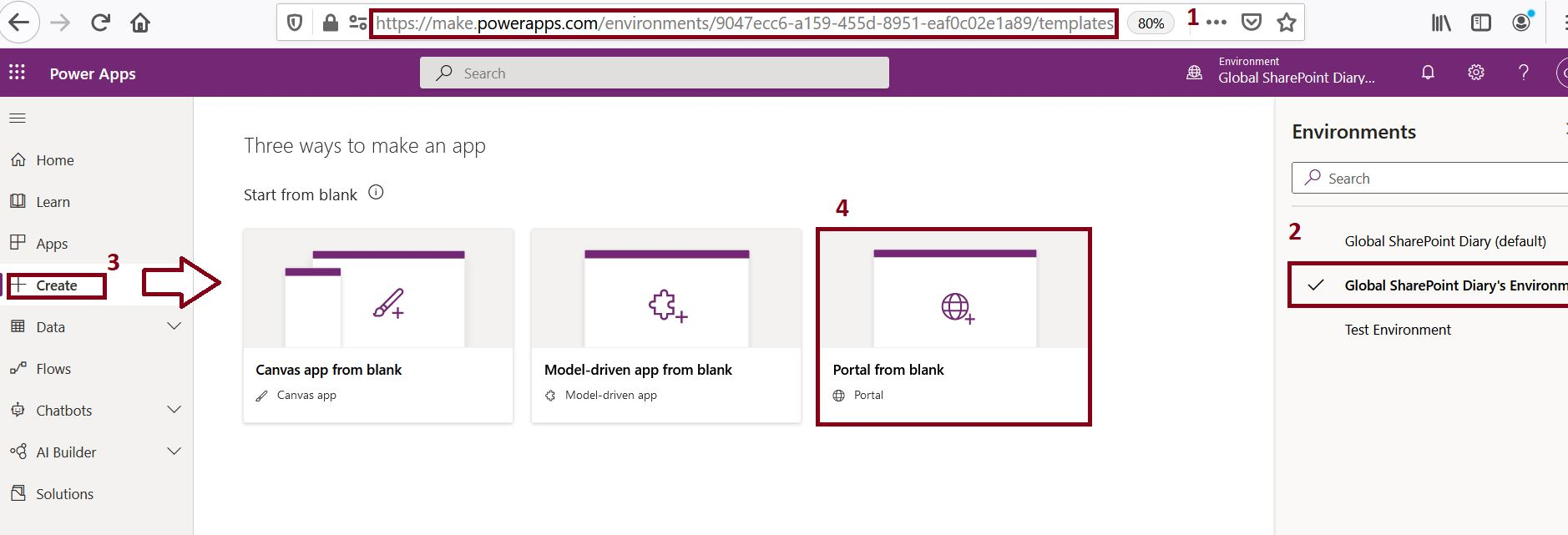 PowerApps portal from blank - steps to create Power Apps portal