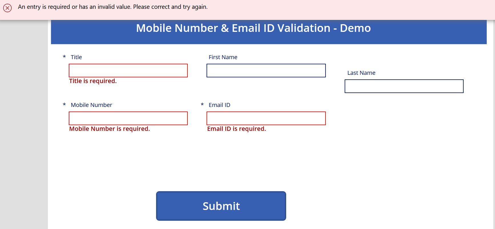 Required field validation test in PowerApps canvas app