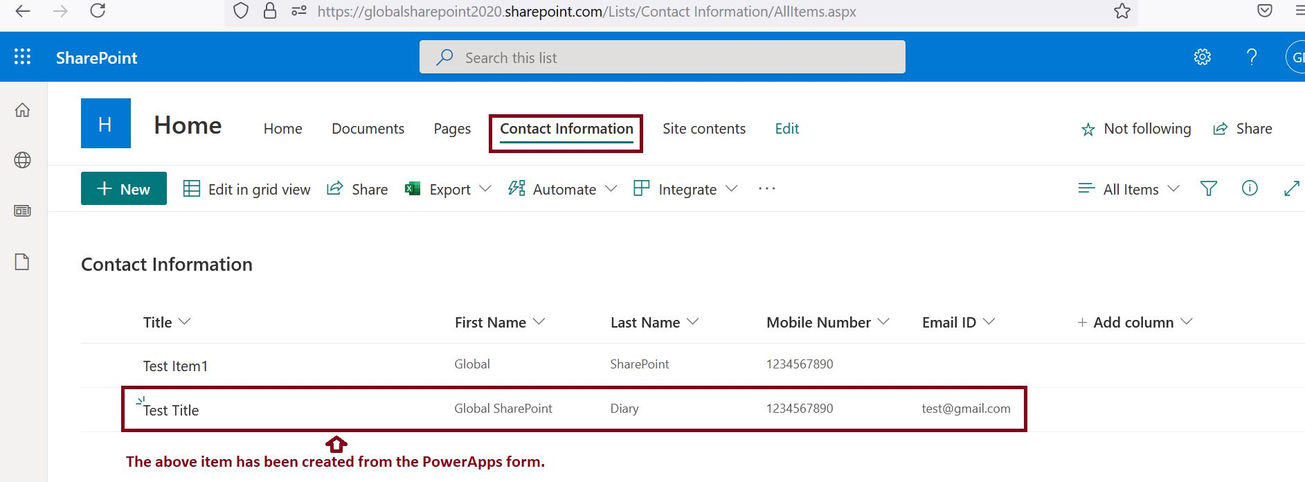 SharePoint list item has been created using the PowerApps SubmitForm function