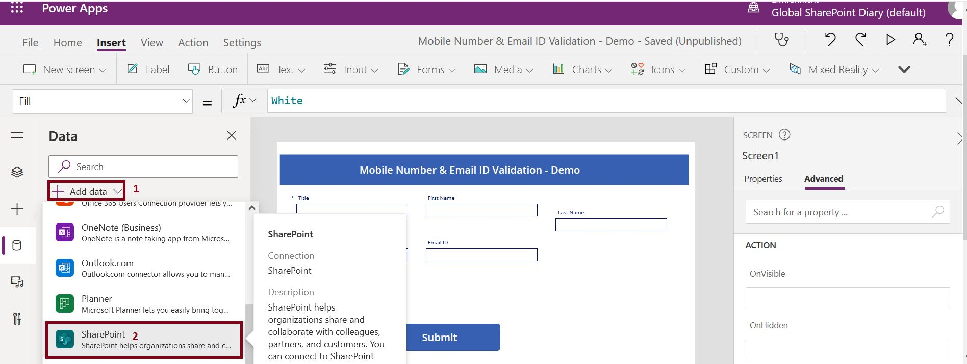 Steps to add SharePoint data connection in PowerApps