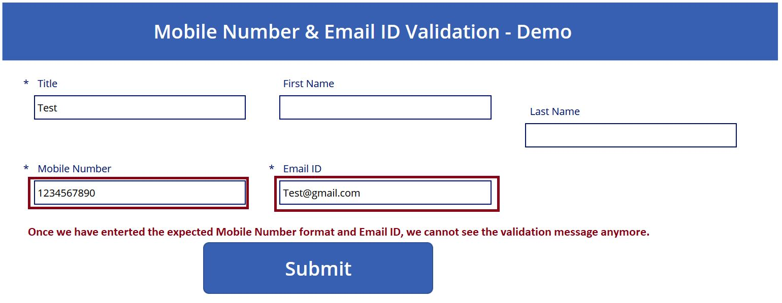 Successful Phone Number and Email ID validation in PowerApps