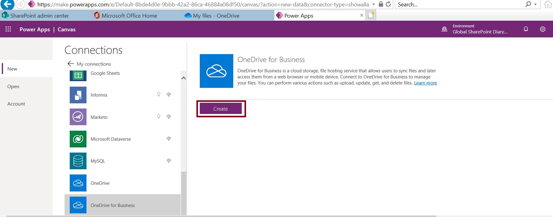 Create OneDrive for business connection in PowerApps
