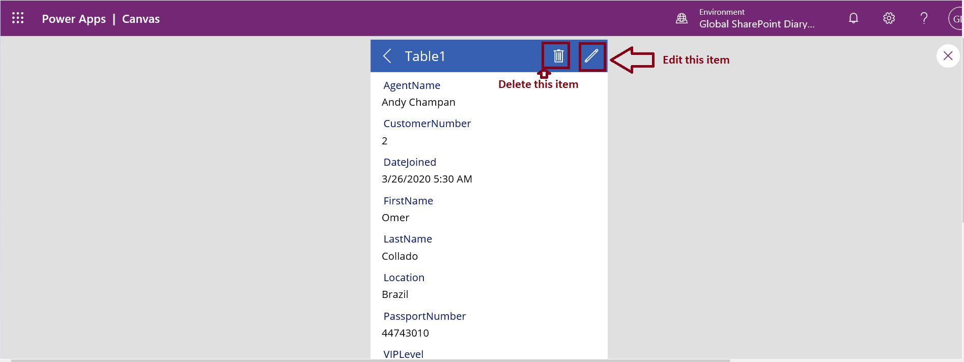 Delete and edit item in PowerApps model driven app