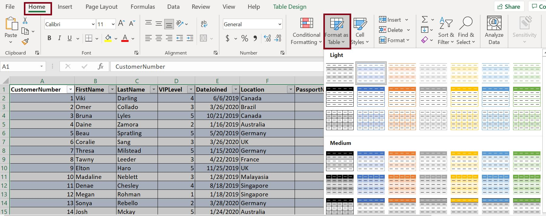 Excel data format as table