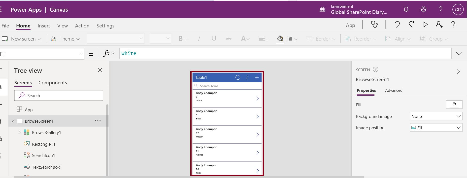 PowerApp model driven app is created from excel OneDrive