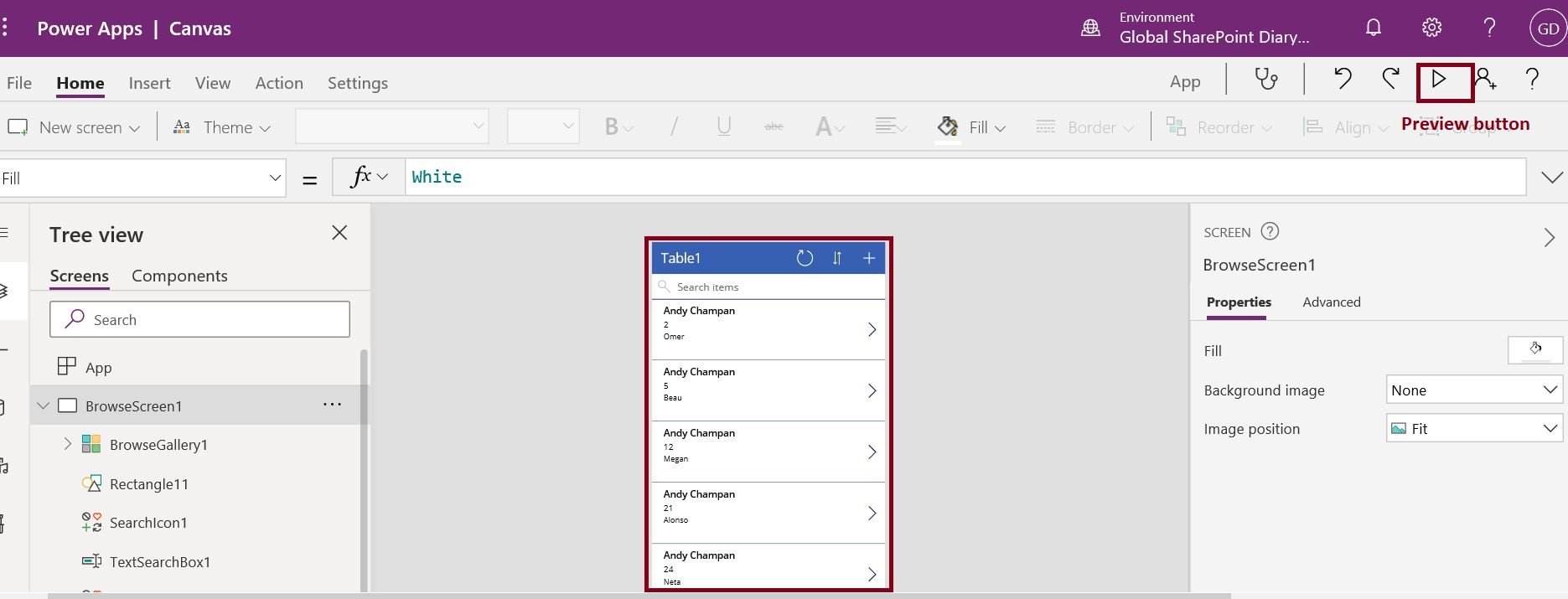 Preview button in PowerApps to run the app locally