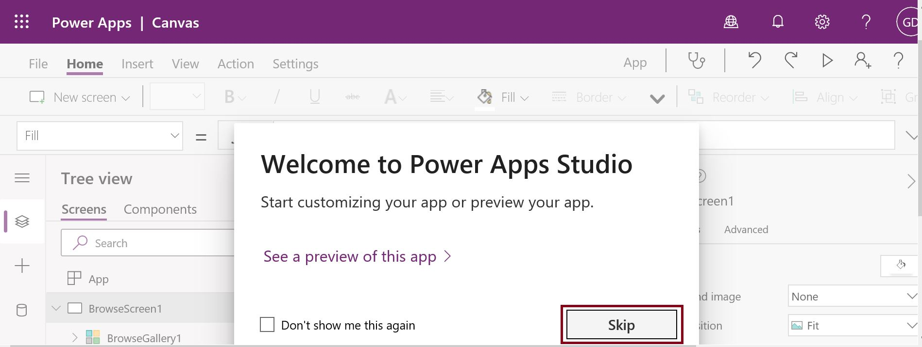Welcome to PowerApps Studio Skip button